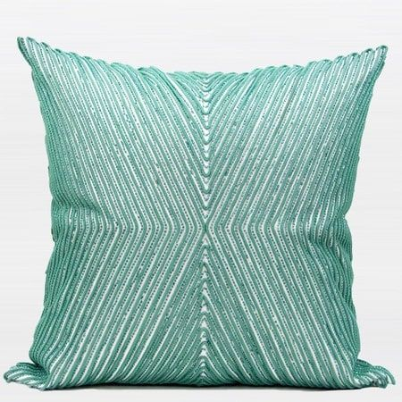 G Home Collection Luxury Lack Blue Handmade X Shape Textured Beaded Pillow 20 X20 A No Insert Cover Only Size Polyester Geometric
