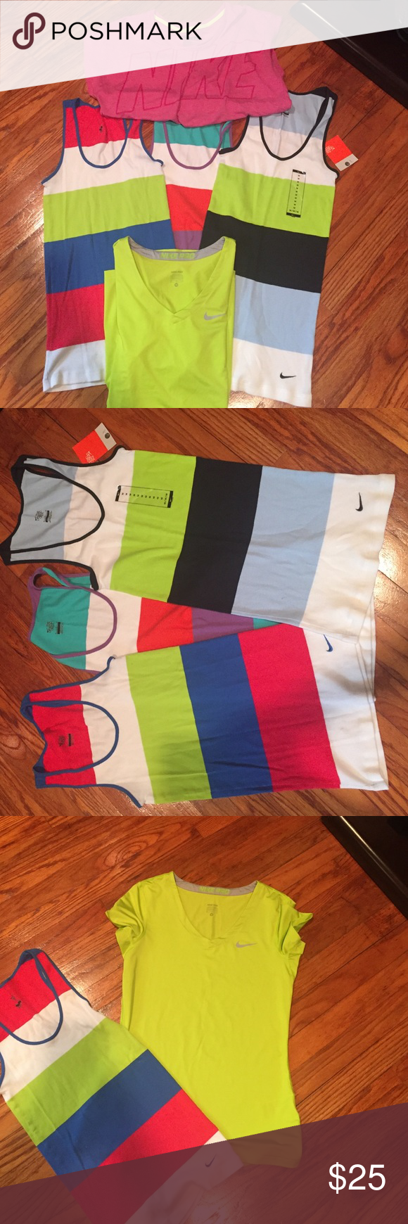 Women's Nike Shirts (Bundled) Women's Nike Shirts (Bundled) all size Medium: includes: 3 fitted tank tops (one w/tags), one Nike Pro short sleeve t-shirt (v-neck) and one loose fitted Nike t-shirt. Sold as pictured. Nike Tops Tees - Short Sleeve