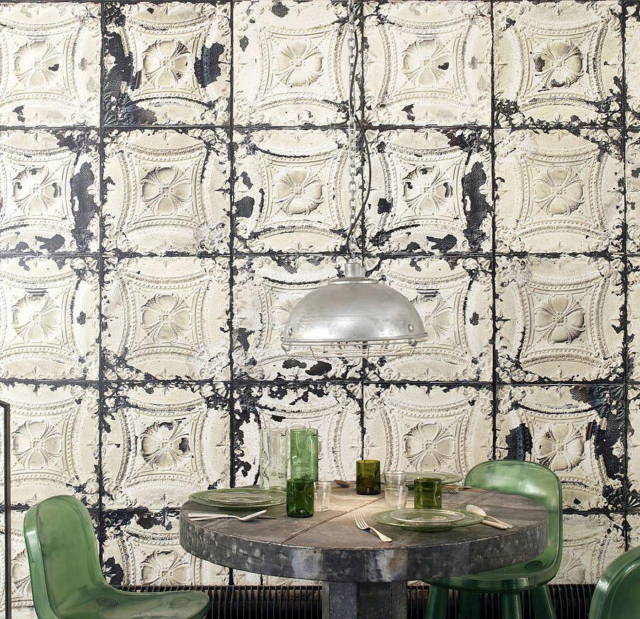 Decorative Tin Tiles For Wall Merci Brooklyn Tin Tiles Wallpaper Tin 01  Wallpaper Industrial