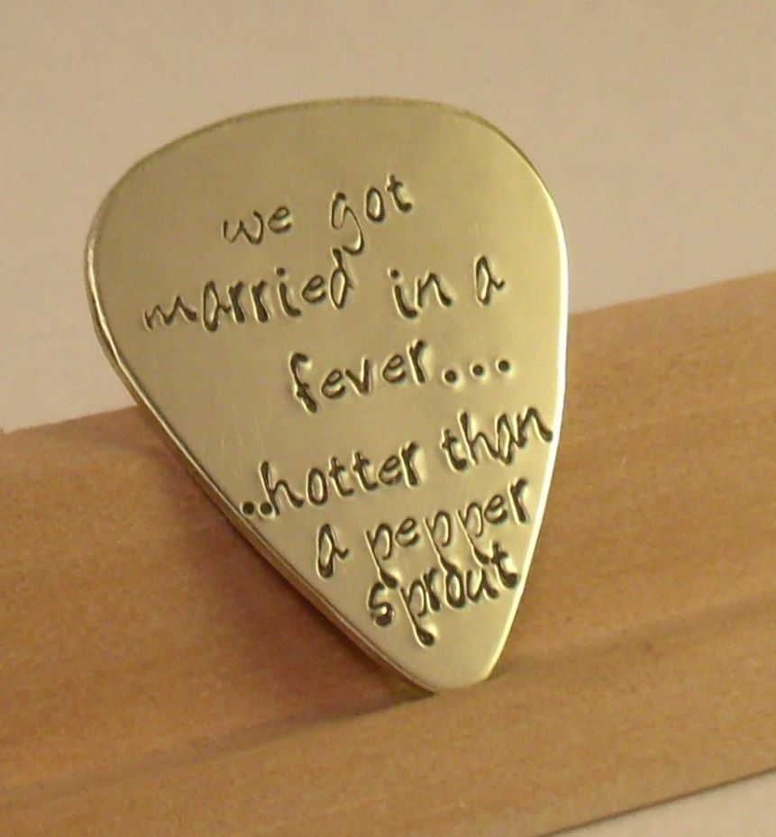 Love Quotes Guitar Pick Perfect Gift For A Grooms Wedding Husband Boyfriend Bridesmaid 20 00 Via Etsy