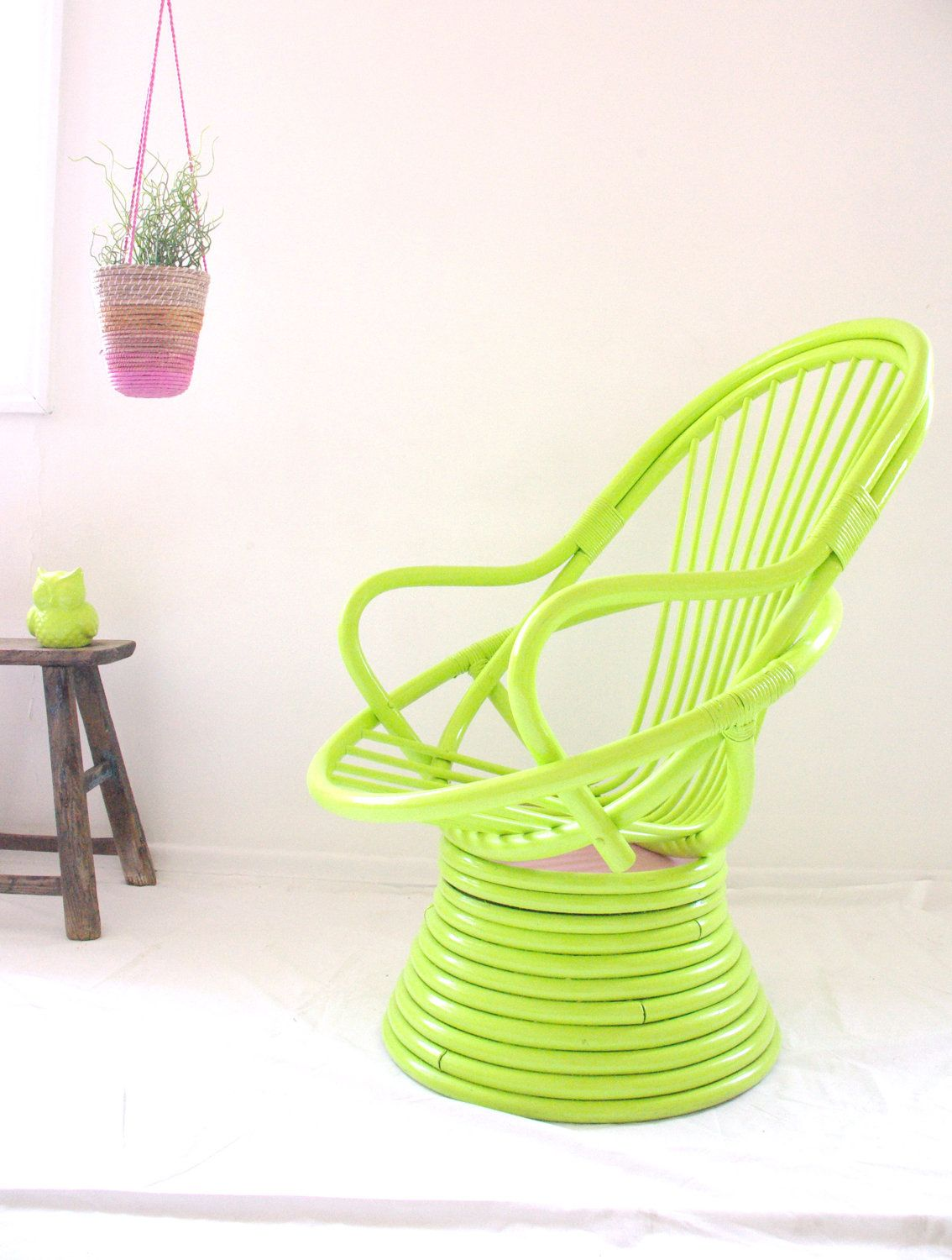 Candy Cane Retro Egg Cane Chair Upcycled By NeonVintageDesign, $590.00