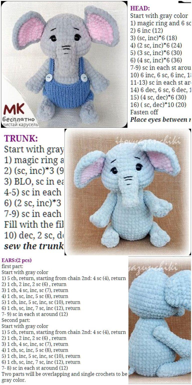 Adorable Crochet Elephant Applique Free Pattern - Knit And Crochet ... | 1536x768