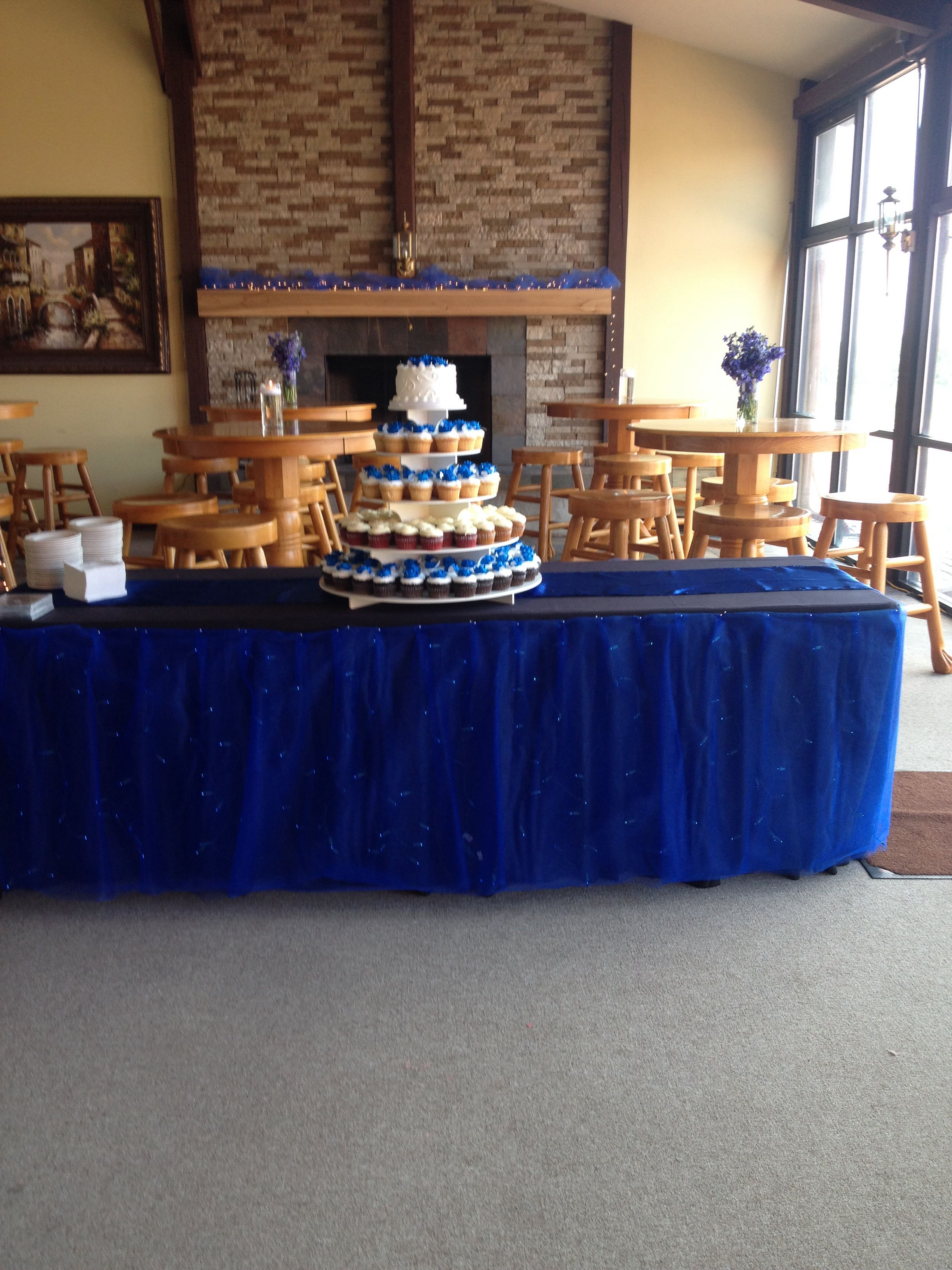 Cake Table Cupcake Tier By Larrys House Of Cakes Carbondale Blue Under Lighting With Tulle Skirt
