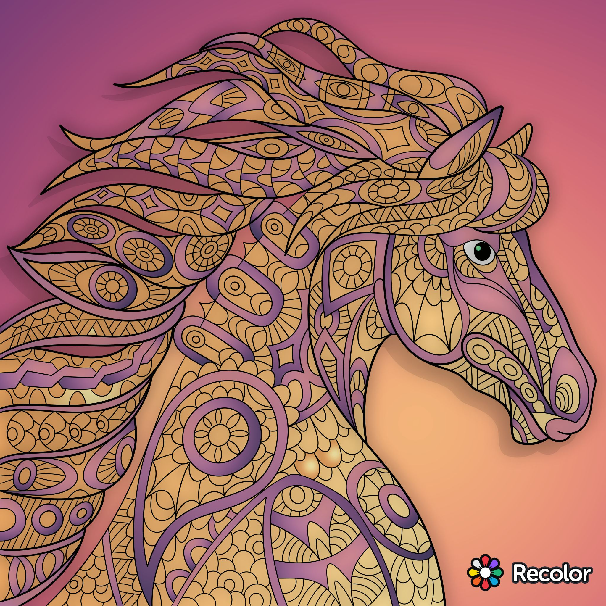 Pin by Carol Davis on Recolor pictures | Horse coloring