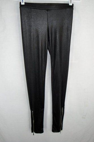 Miley Cyrus Max Azria Black Leggings Size M Punk Zippers Liquid Wet Look Tights $39.45