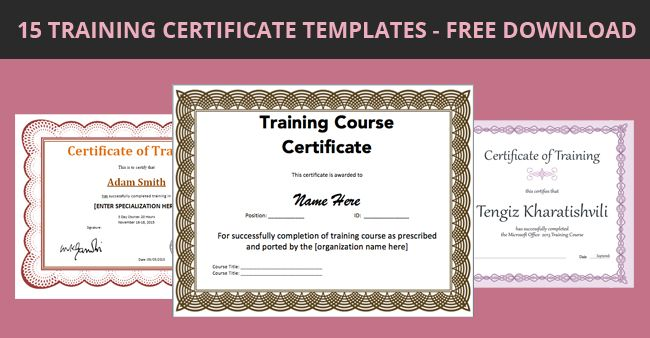 15 Training Certificate Templates U2013 Free Download  Certificate Of Training Template