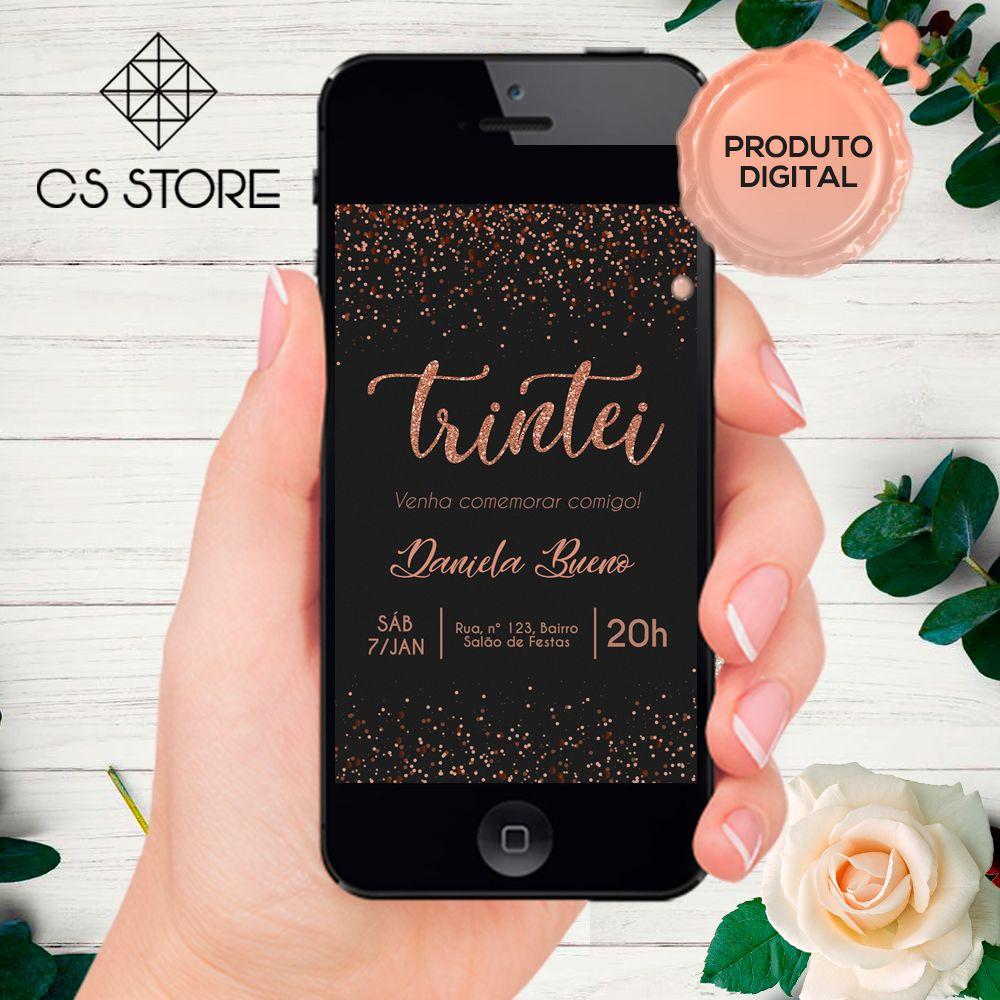Convite Digital Preto com Rose Gold