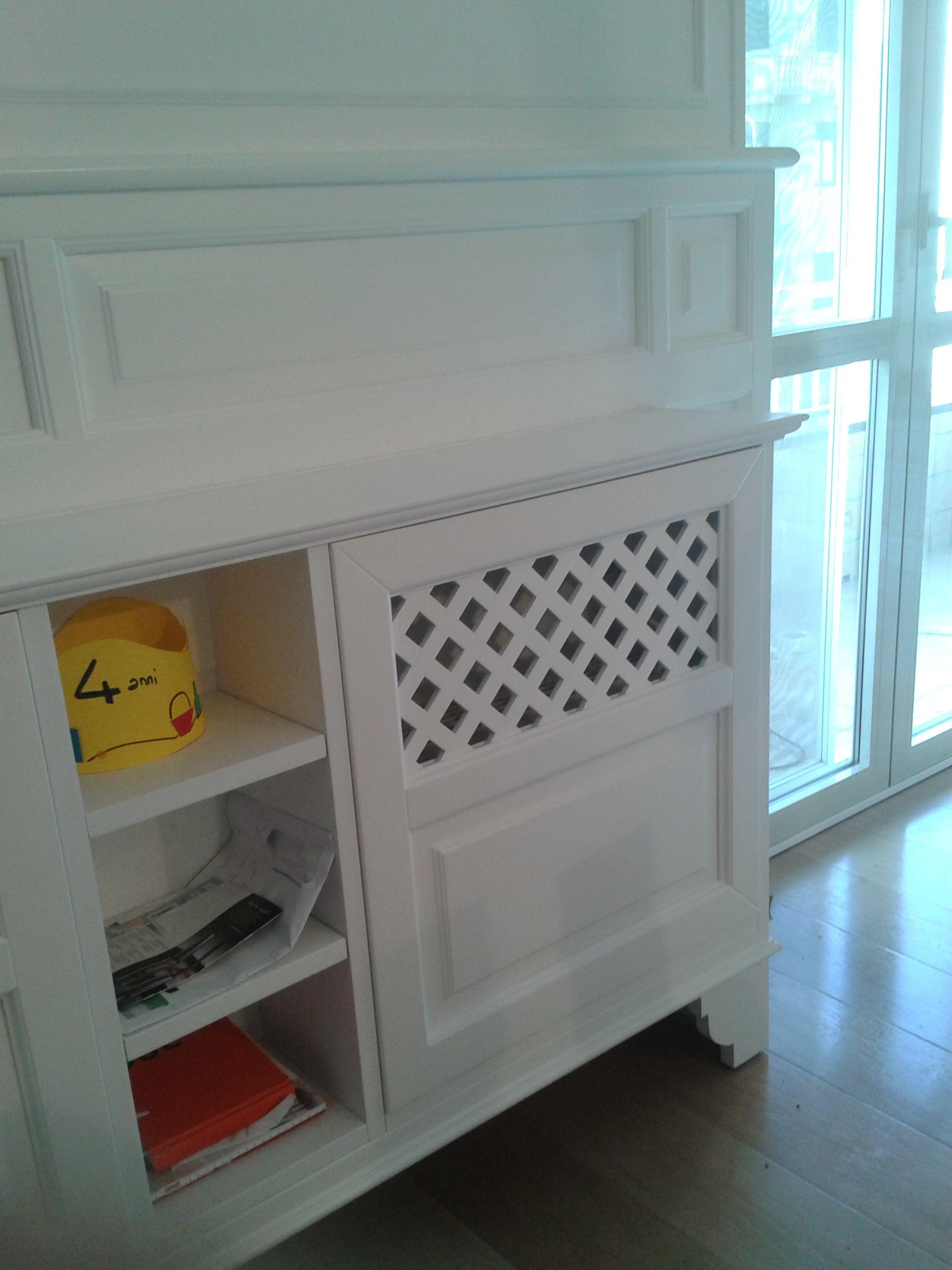 copri fancoil in legno laccato bianco con librerieta laterale copricaloriferi copri fancoil. Black Bedroom Furniture Sets. Home Design Ideas