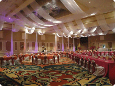Ceiling decor for a wedding reception draping for Ceiling mural ideas