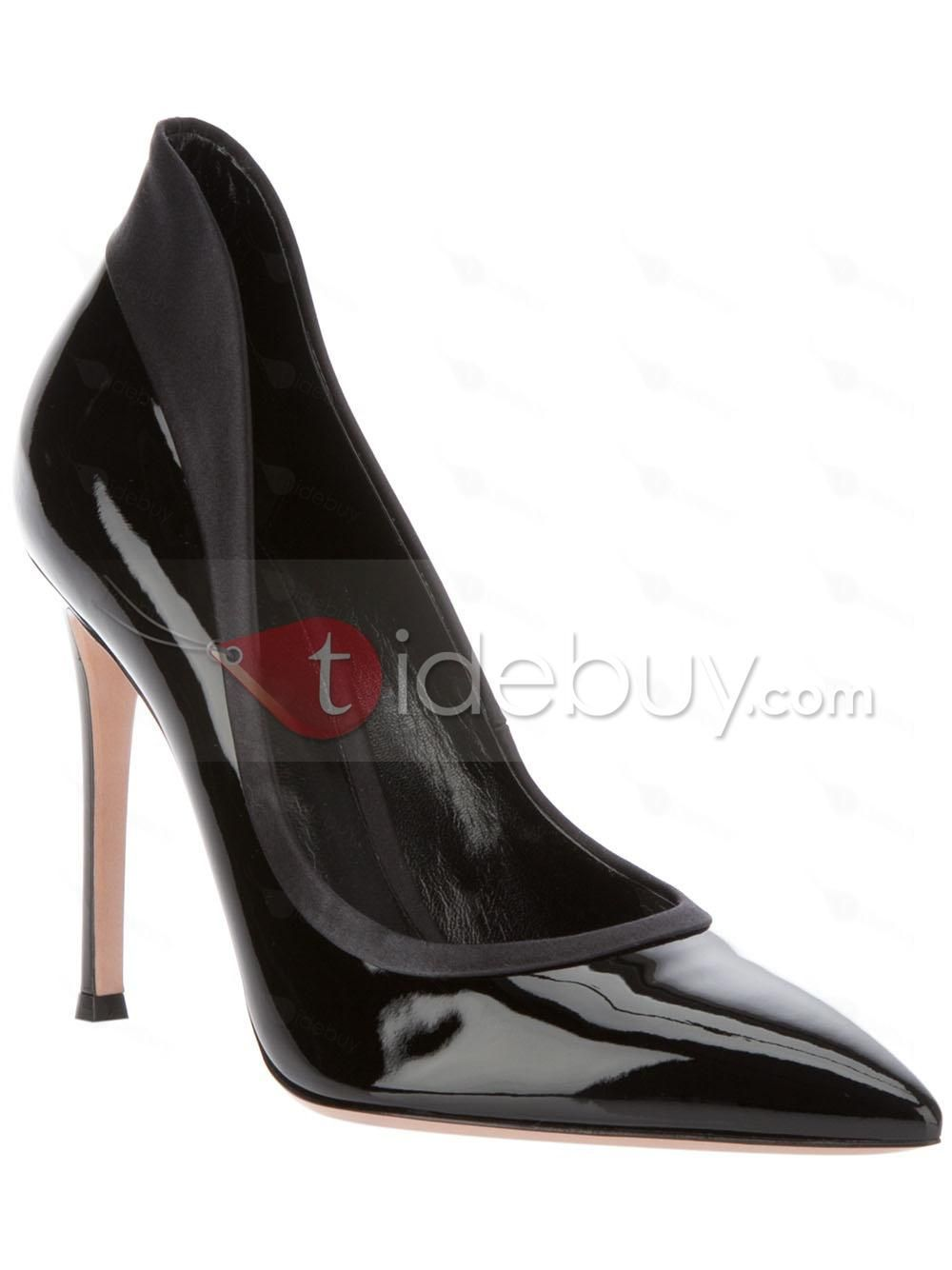 New Arrival Black Leather Upper Women Pumps