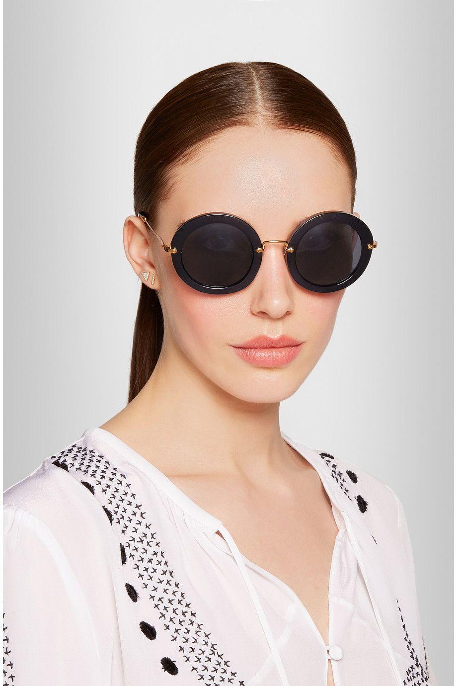 b71554b525bc Miu Miu - Round-frame acetate sunglasses