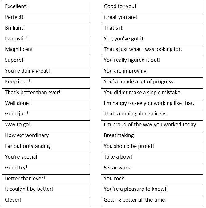 Ways of praising someone - learn English,vocabulary