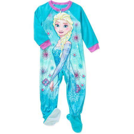 e1c307e73f52 Disney Frozen Toddler Girls  Micro Fleece Footed PJ