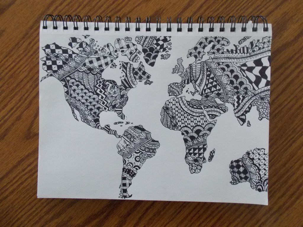 World map zentangle by createwithcolor on deviantart tangle art world map zentangle gumiabroncs Images