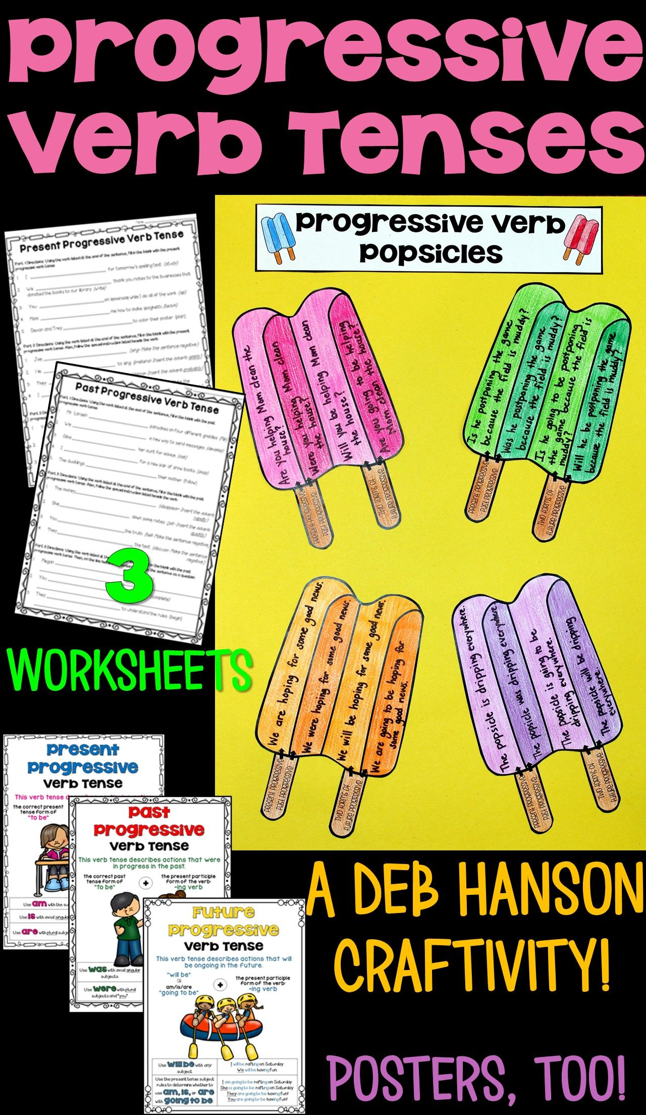 Progressive Verbs Worksheets Craftivity Amp Posters