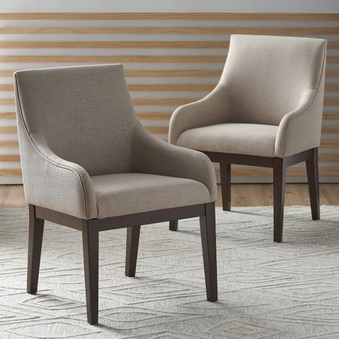Belham Living Abbott Parsons Swoop Arm Dining Chair Set Of 2 Hayneedle Parsons Dining Chairs Transitional Dining Chairs Dining Chairs Dining room chairs with arms
