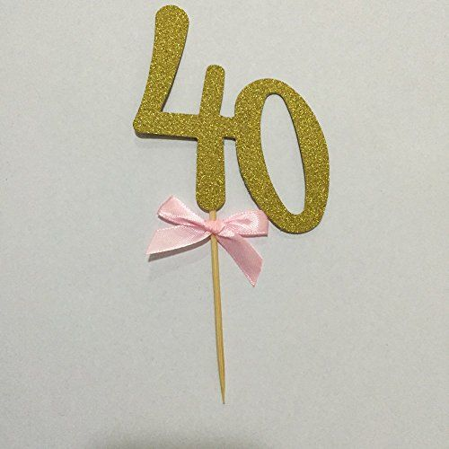 Handmade 40th Birthday Party Decor Glitter Gold Number 40 Cupcake Toppers40th Birthday Cake Topper Decoration Made with Double Sided Gold Glitter StockSet of 2 * For more information, visit image link.Note:It is affiliate link to Amazon.