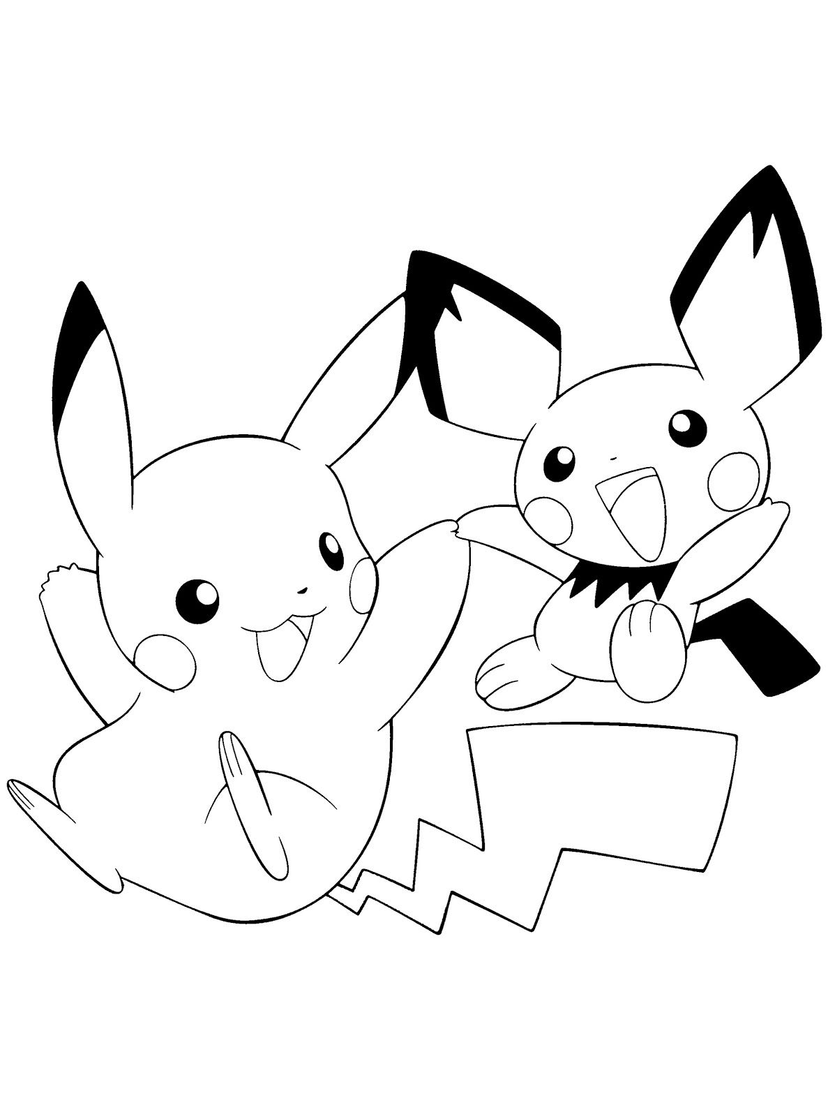 Best Printable Pikachu And Pichu Coloring Books Warna Gambar