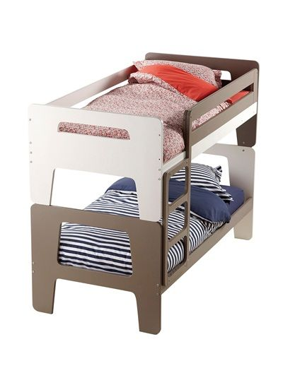 lits superpos s dododuo s parables en lits jumeaux blanc blanc taupe vertbaudet enfant. Black Bedroom Furniture Sets. Home Design Ideas