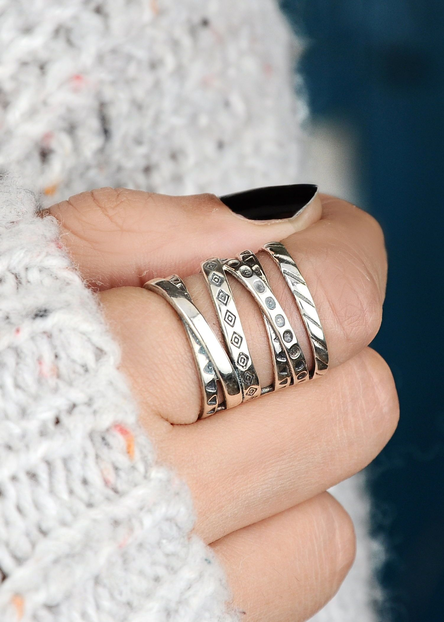 adjustable with dangles, Silver statement ring