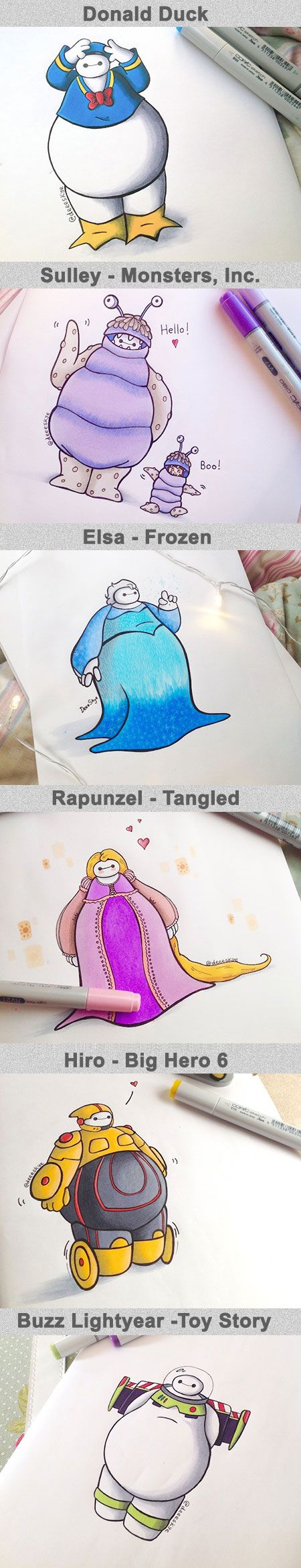 Scotlandbased Selftaught Artist Demetria Skye Has Created An - Baymax imagined famous disney characters