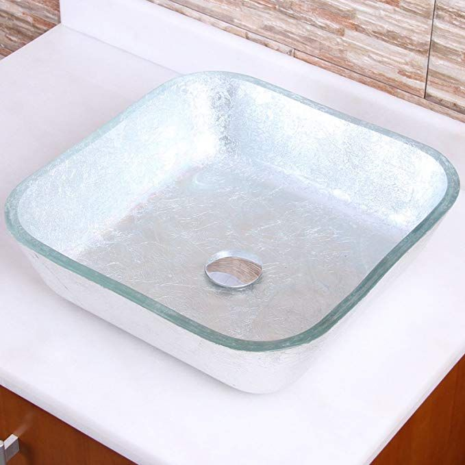 ELITE Crystal Glass Square Artistic Silver Tempered Glass Bathroom
