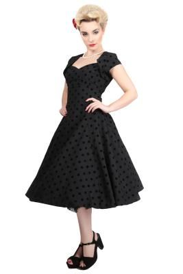 Collectif polka flocked regina doll dress, £60