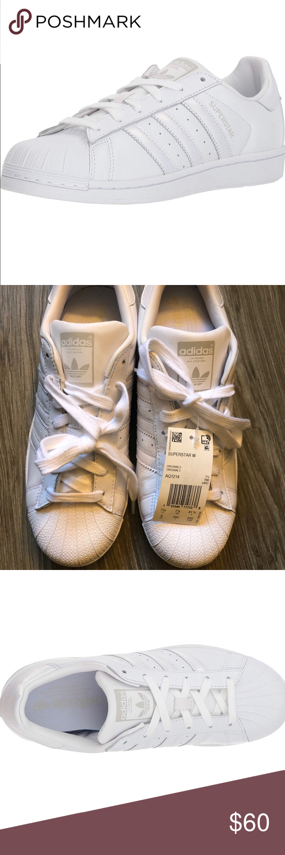 NWT All White Adidas Superstar Size 9 All white adidas superstars ... 1c3b0851c