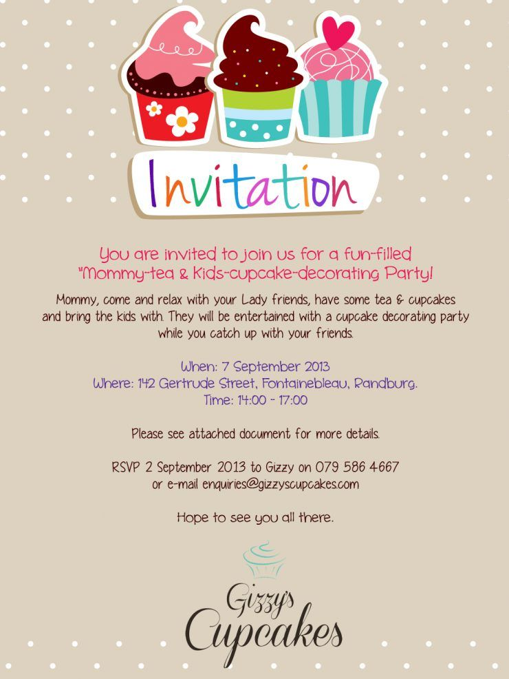 Cake Decorating Birthday Party Invitations : Birthday. Cup Cake Party Invitations. Delicious Mommy Tea ...