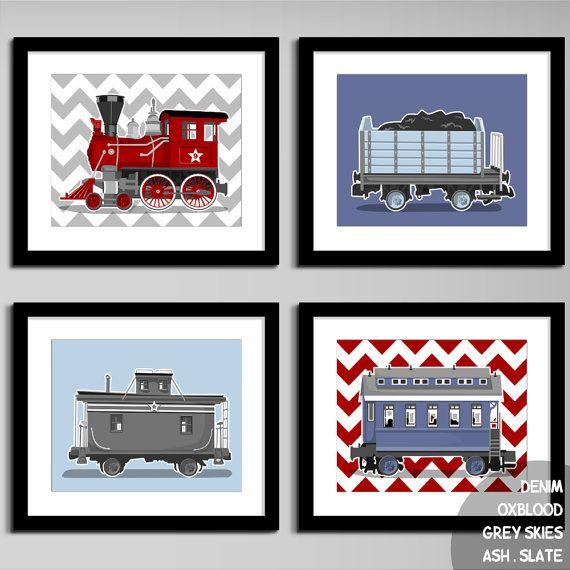 Retro Railroad Train Nursery Artwork Set Of 4 Printed Etsy Train Nursery Train Nursery Art Chevron Wall Art