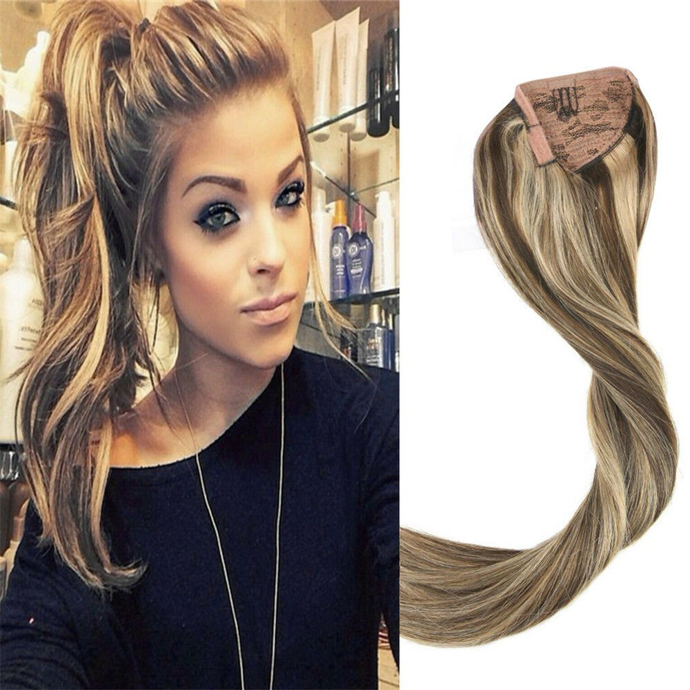 Details About Long Straight One Piece Ponytail Human Hair