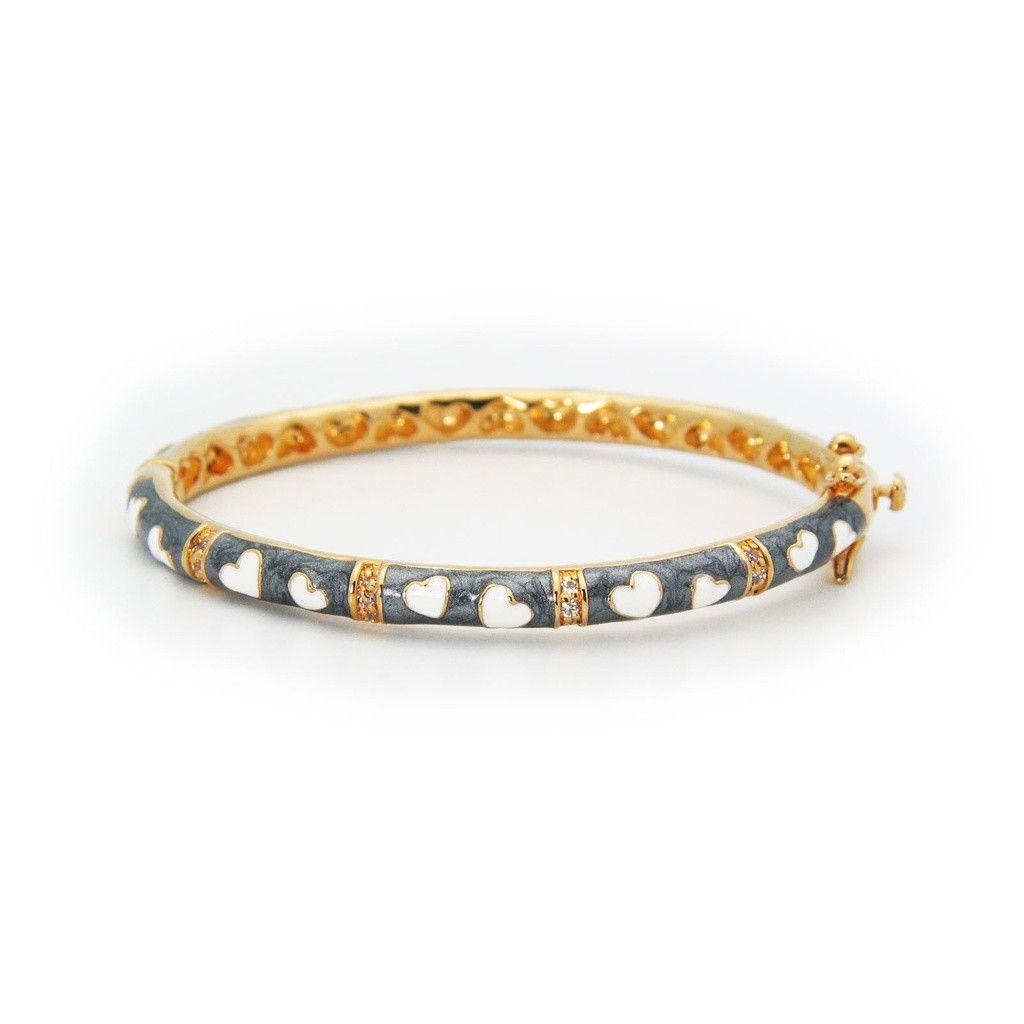 Beckids girlus gold hearts bangle bracelet with grey u white enamel