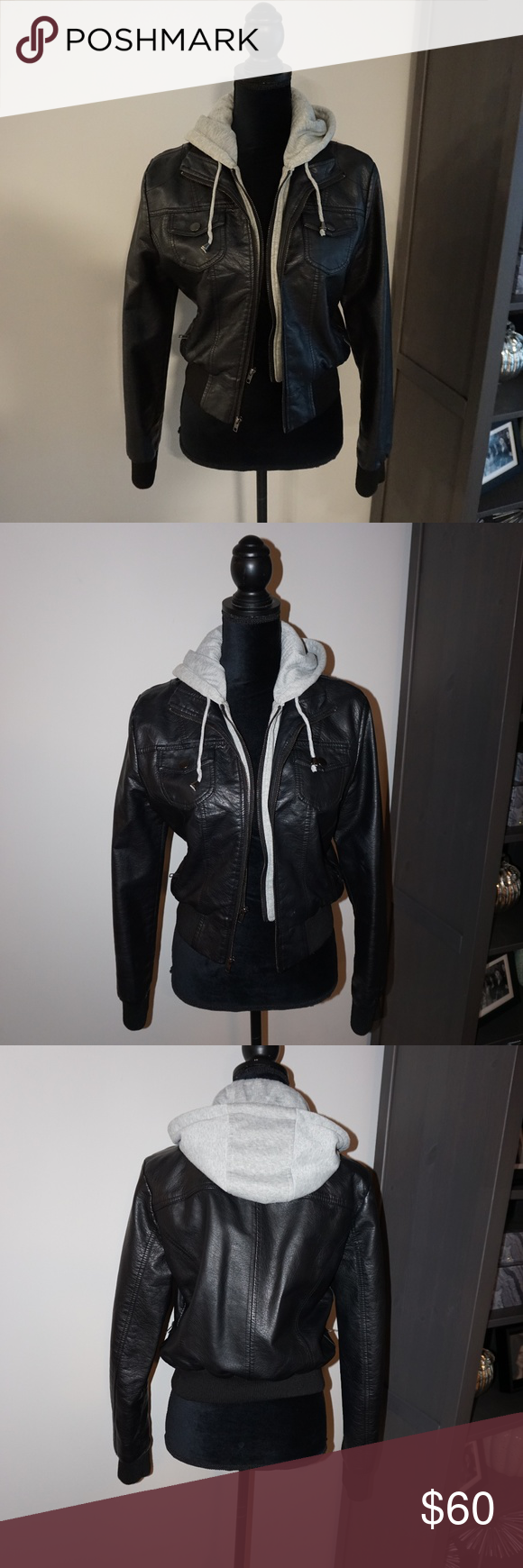 Ashley Faux Leather Jacket With Attached Hoodie Jackets Leather Jacket Faux Leather Jackets [ 1740 x 580 Pixel ]