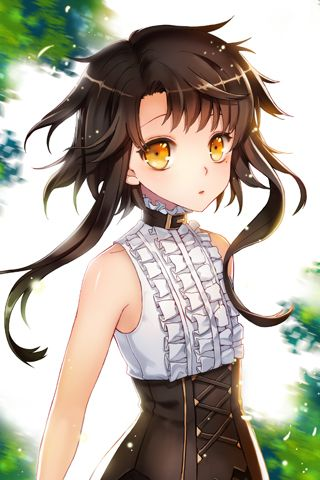 Anime girl. Gold eyes. Golden eyes. Black hair. Cute ...