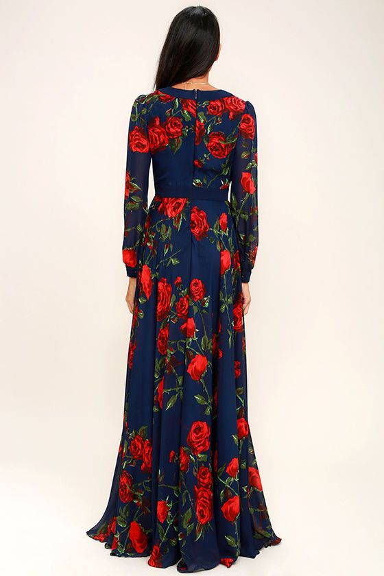 9ed100ecfbd8 Galas and garden parties give you the perfect excuse to show off the  Blossom Buddy Red and Navy Blue Floral Print Maxi Dress! Red floral print  blooms across ...