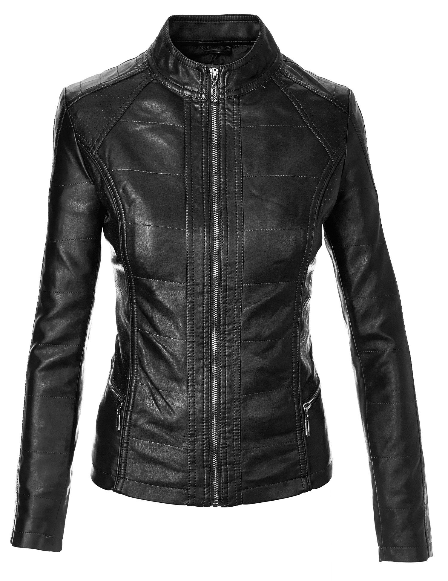Made By Johnny Women's Biker Chic Faux Leather Jacket