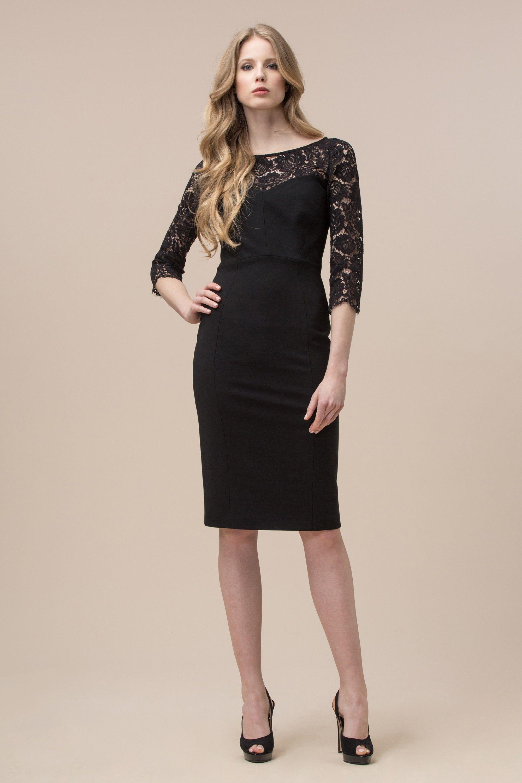 Άνεση κρεπ φόρεμα με δαντέλα ένθετο Luisa Spagnoli  1cbf79cb961