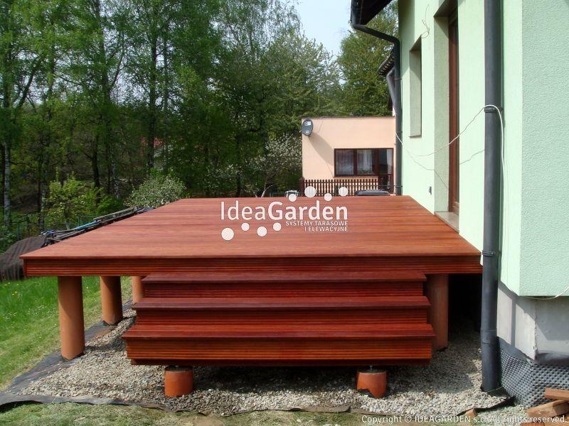 Wysoki taras z drewna Massaranduba w Czechowicach| IdeaGarden.pl