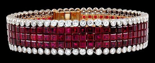 VAN CLEEF & ARPELS Mystery Set Diamond & Ruby Bracelet - Yafa Jewelry