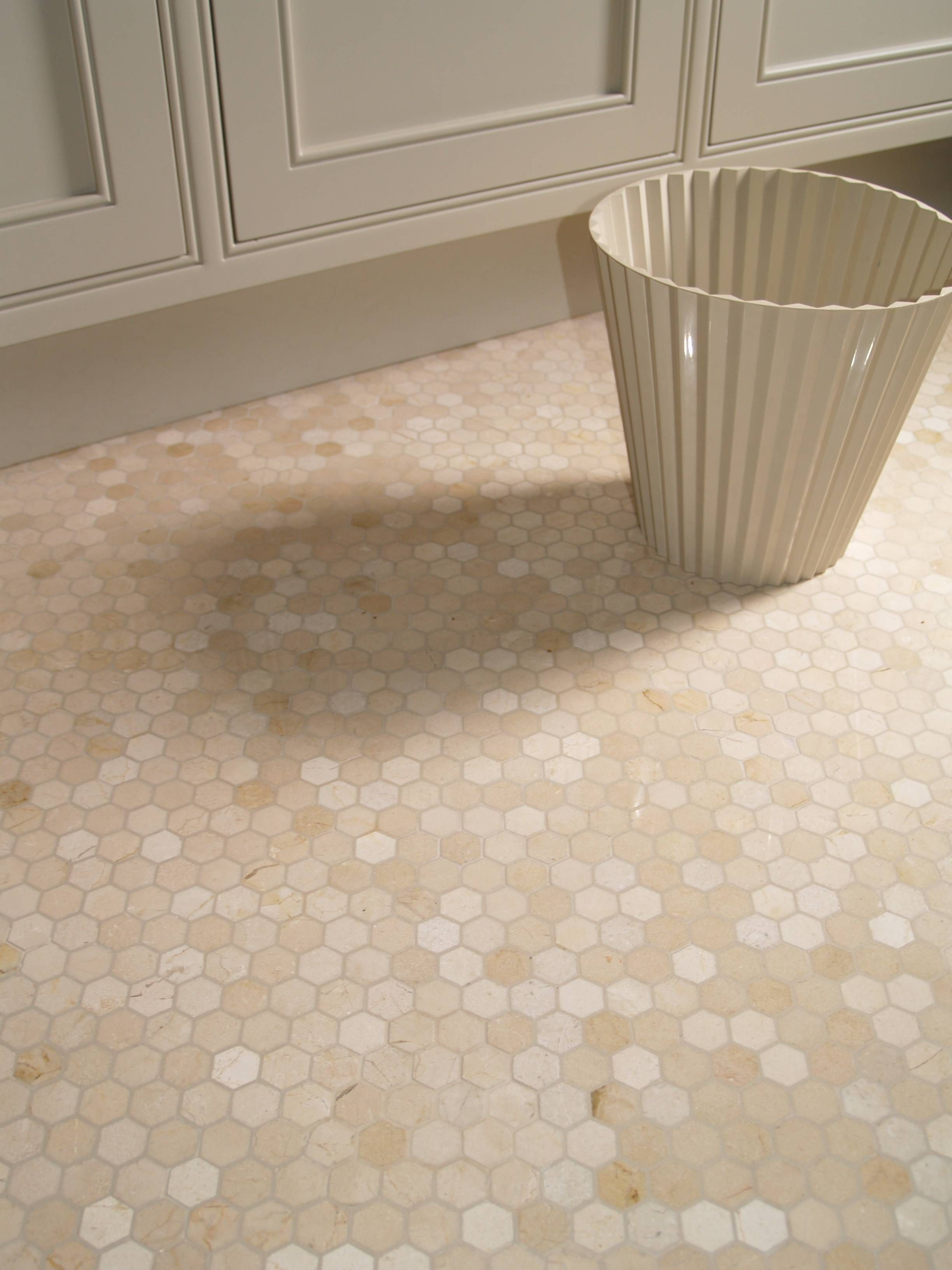 Crema Marfil Hexagon Marble Mosaic Love The Color Of Mosiac Maybe For