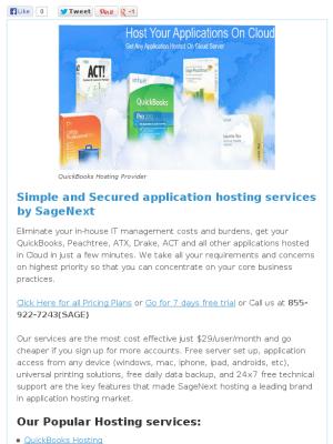 QuickBooks Hosting newsletter | SageNext Hosting | Remote desktop