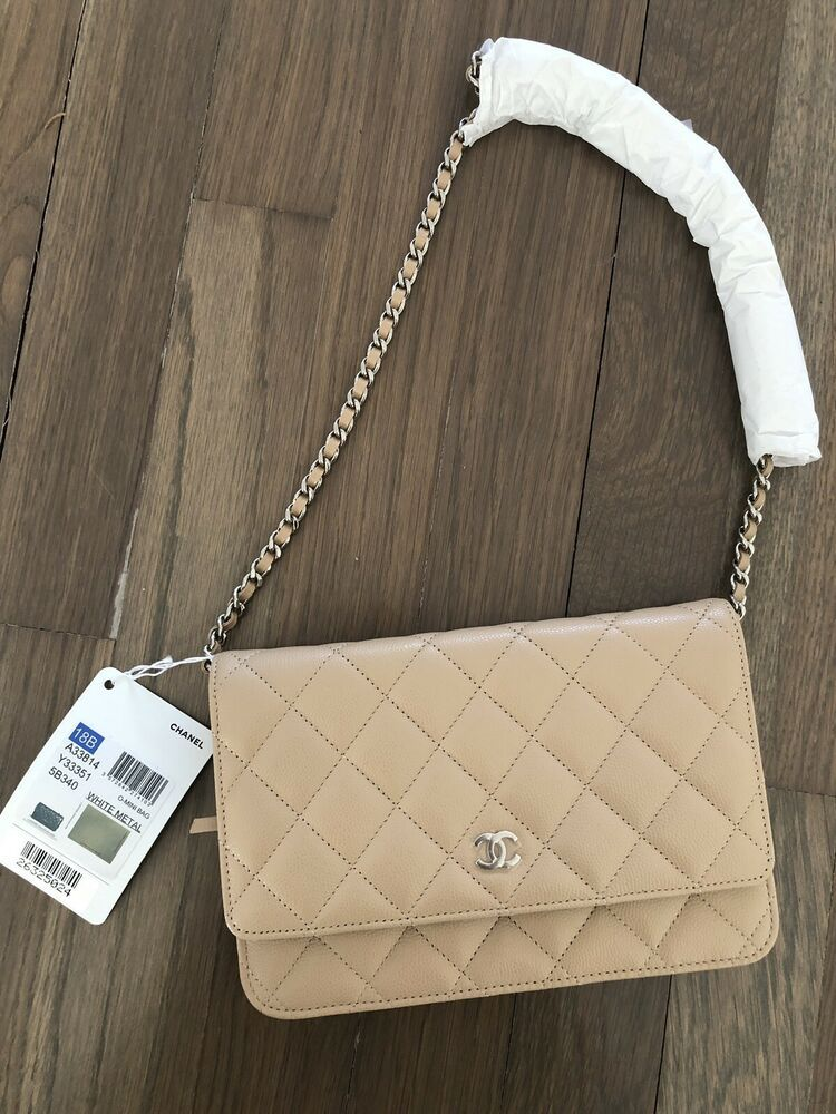 db6e74346122 NWT 100% Authentic Chanel Beige Wallet On A Chain Crossbody Shoulder Bag  Handbag
