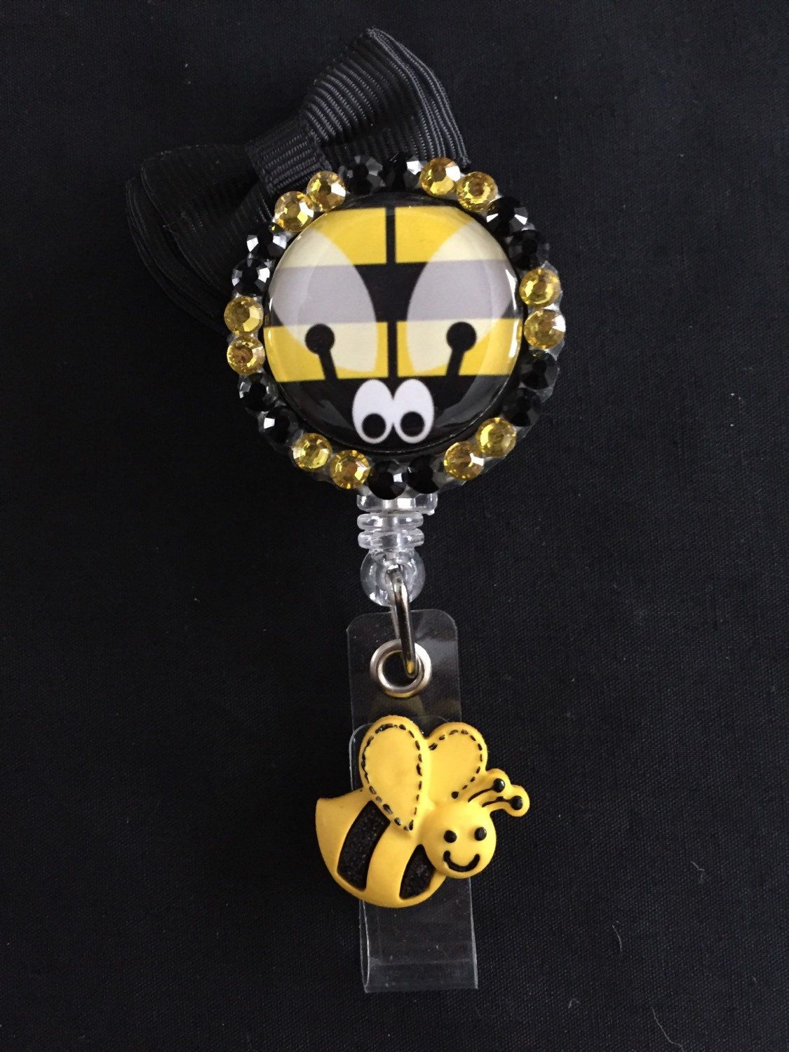 Bumblebee retractable badge holder by sylviathisandthat on