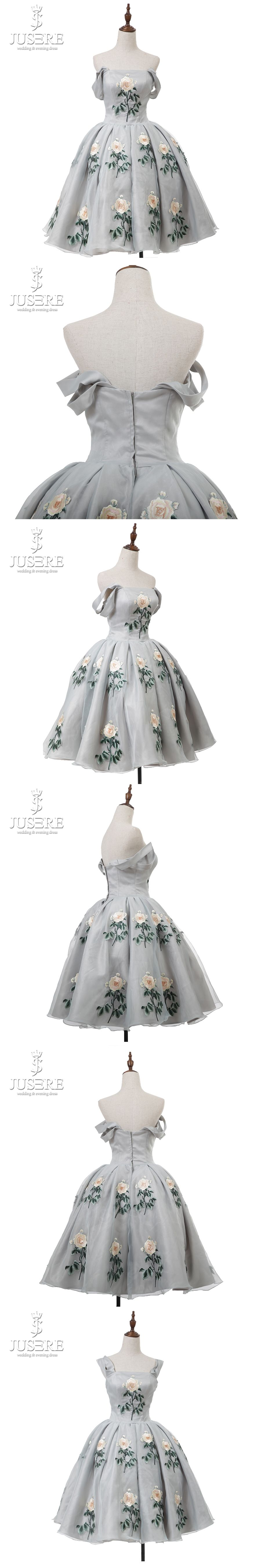 JUSERE Puffy Ball Gown Organza Short Embroidery Zipper up Back Wide