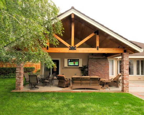 traditional patio covered patio design, pictures, remodel, decor ... - Patio Overhang Ideas