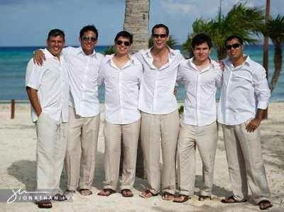 Groomsmen attire for beach wedding Opinion please  Weddings Wedding A Groom Groomsmen attire for beach wedding Opinion please  Weddings Wedding A Linen Classic pants for...