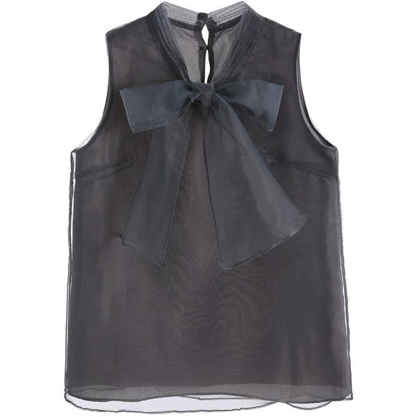 Grey Bow Button Back Sleeveless Organza Blouse (18 CAD) ❤ liked on Polyvore featuring tops, blouses, sleeveless tops, organza top, organza blouse and sleeveless blouse