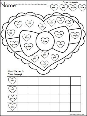 This is a FREE heart color graphing activity. Students