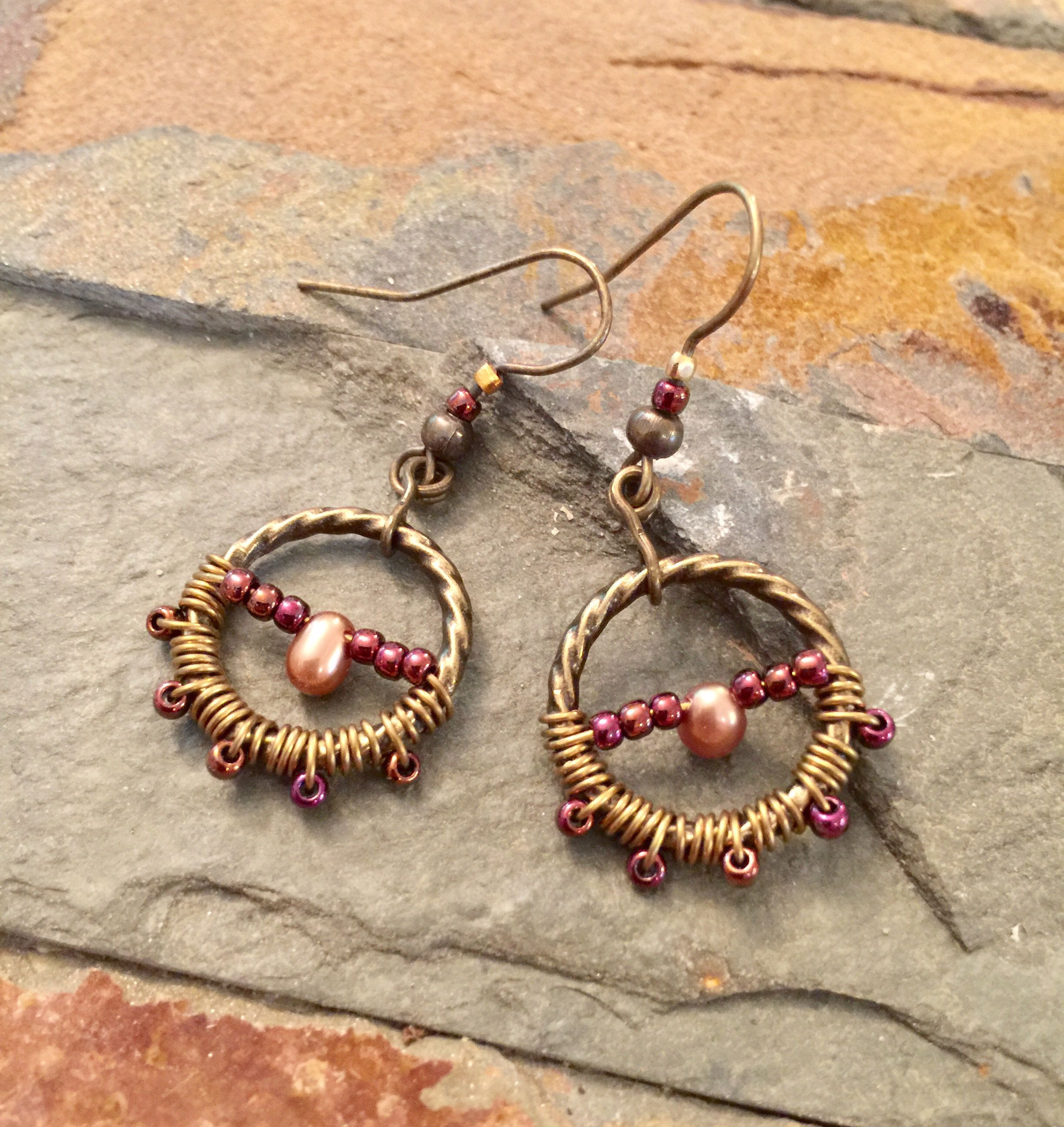 Wire Wrapped Jewelry, Wire Wrapped Earrings, Antique Gold Earrings, Freshwater