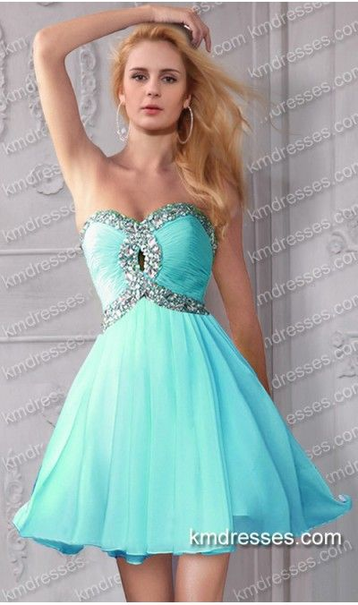 Short Strapless Sweet 16 Dresses Aqua